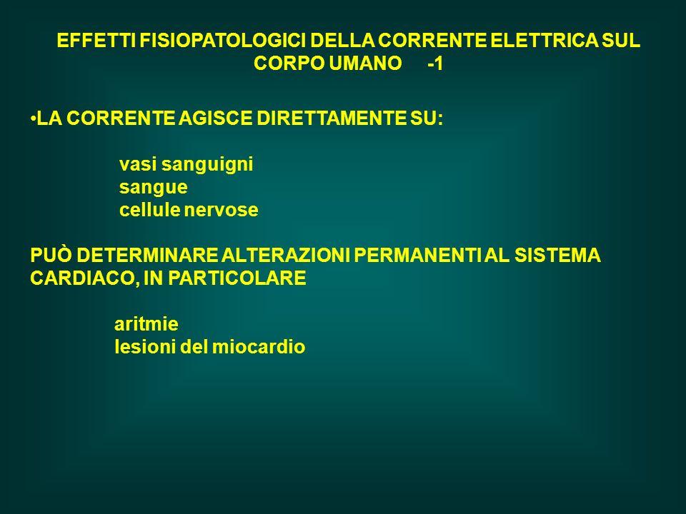 EFFETTI FISIOPATOLOGICI DELLA CORRENTE ELETTRICA SUL CORPO UMANO -1