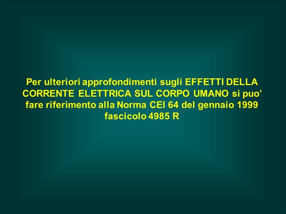 Per ulteriori approfondimenti sugli EFFETTI DELLA CORRENTE ELETTRICA SUL CORPO UMANO si puo' fare riferimento alla Norma CEI 64 del gennaio 1999 fascicolo 4985 R