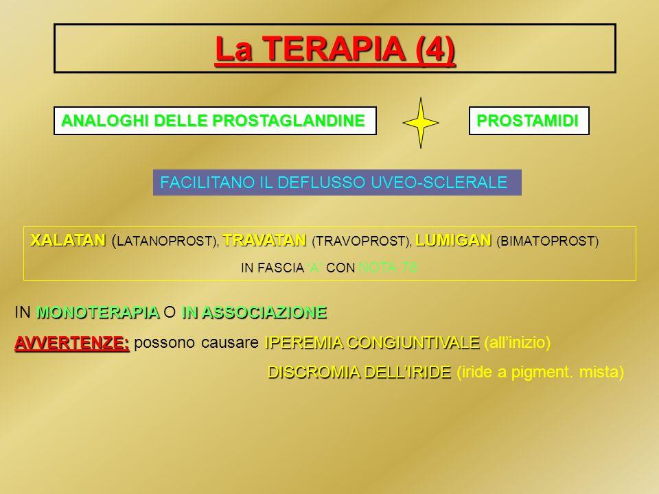 La TERAPIA (4) ANALOGHI DELLE PROSTAGLANDINE PROSTAMIDI