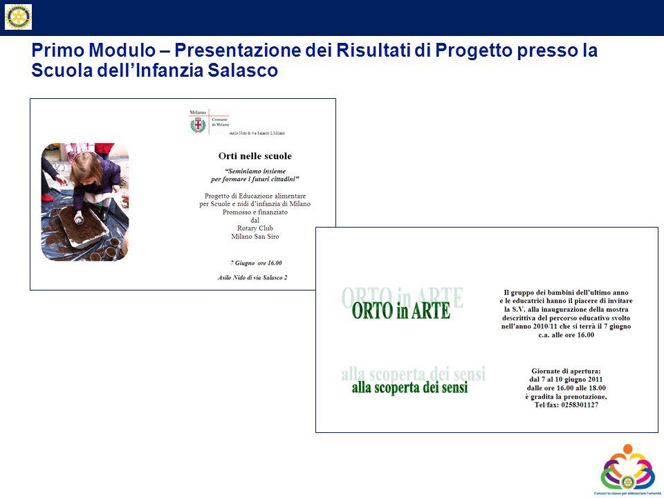 Primo Modulo – Presentazione dei Risultati di Progetto presso la Scuola dell'Infanzia Salasco