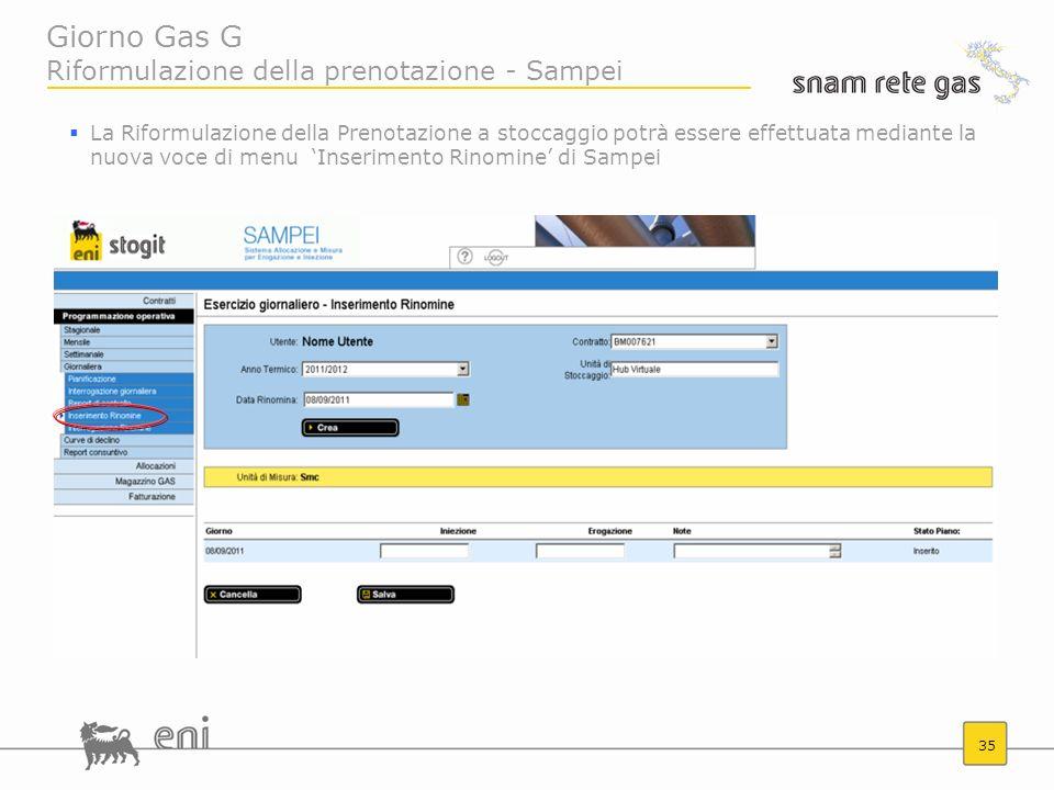 Giorno Gas G Riformulazione della prenotazione - Sampei