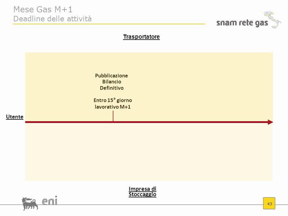 Mese Gas M+1 Deadline delle attività