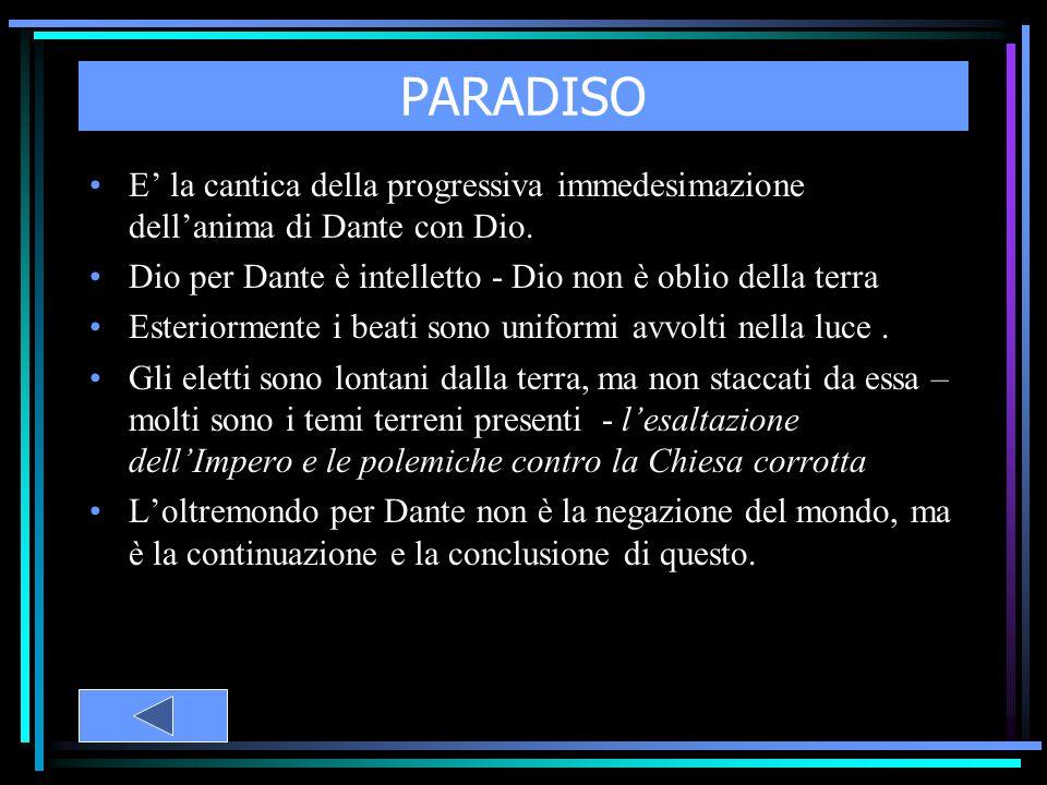 PARADISO E' la cantica della progressiva immedesimazione dell'anima di Dante con Dio. Dio per Dante è intelletto - Dio non è oblio della terra.