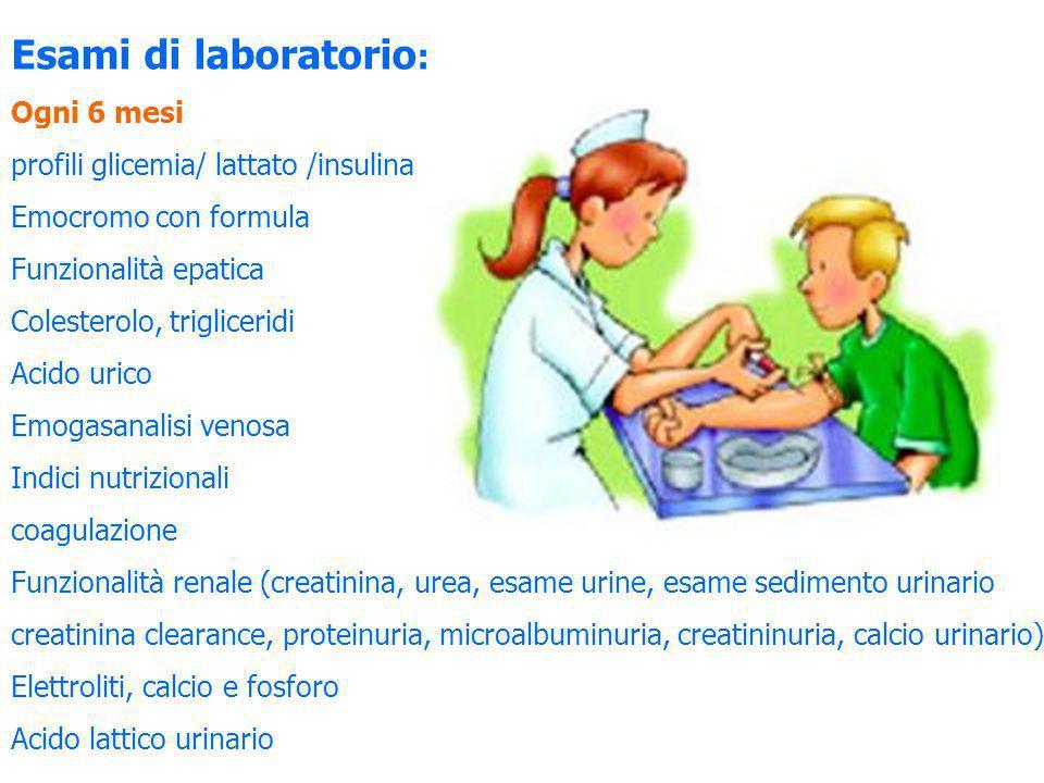 Esami di laboratorio: Ogni 6 mesi profili glicemia/ lattato /insulina