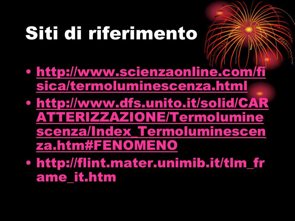Siti di riferimento http://www.scienzaonline.com/fisica/termoluminescenza.html.