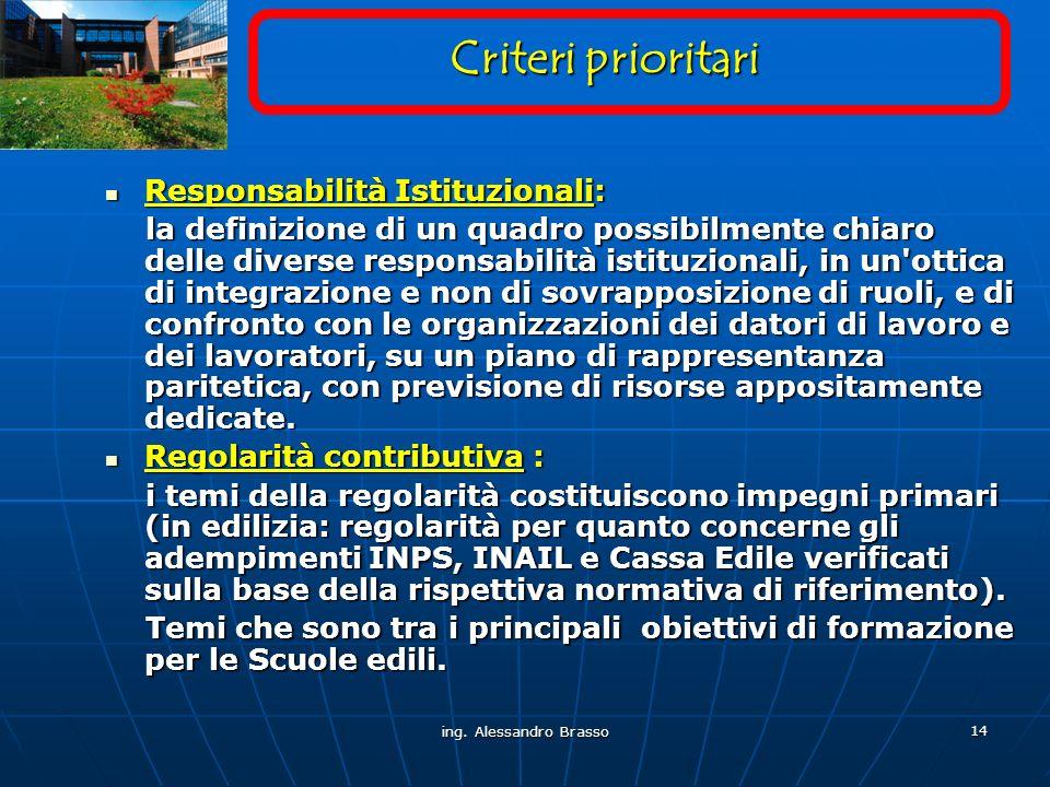 Criteri prioritari Responsabilità Istituzionali: