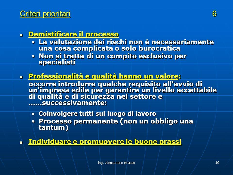 Criteri prioritari 6 Demistificare il processo