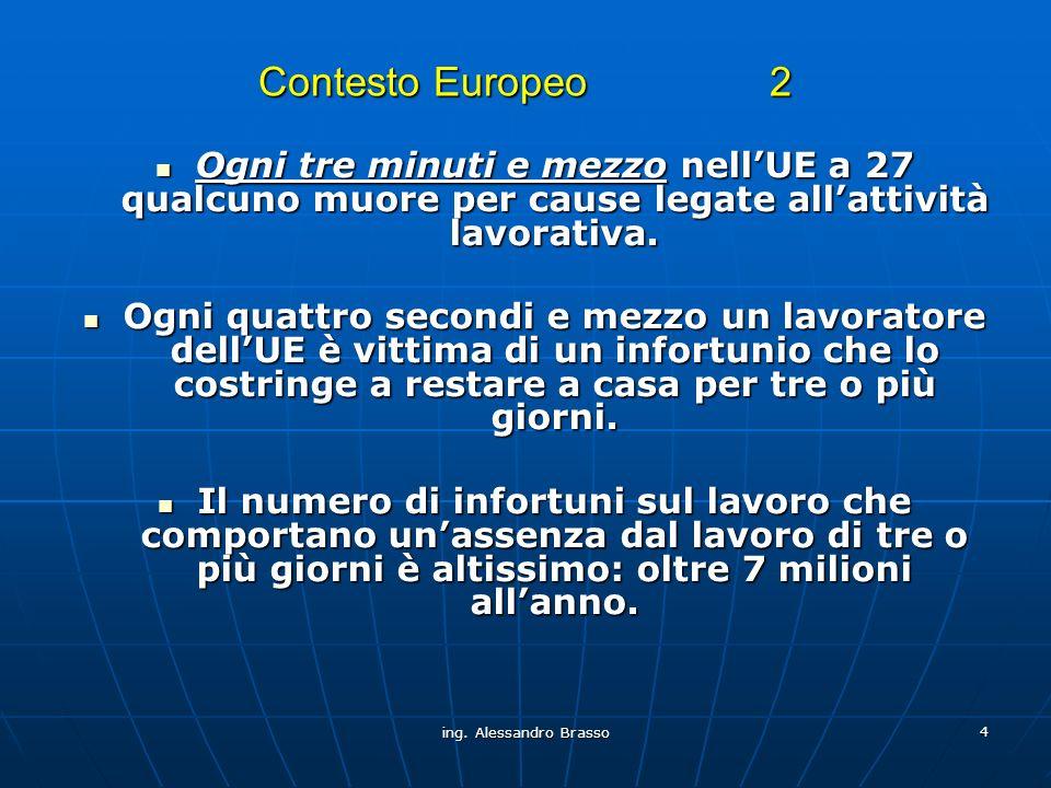 Contesto Europeo 2 Ogni tre minuti e mezzo nell'UE a 27 qualcuno muore per cause legate all'attività lavorativa.