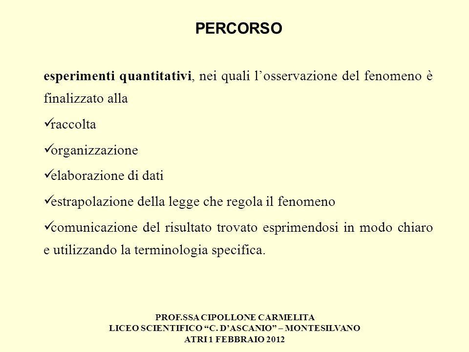 PERCORSO esperimenti quantitativi, nei quali l'osservazione del fenomeno è finalizzato alla. raccolta.