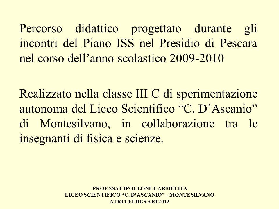 Percorso didattico progettato durante gli incontri del Piano ISS nel Presidio di Pescara nel corso dell'anno scolastico 2009-2010