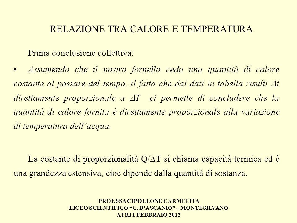 RELAZIONE TRA CALORE E TEMPERATURA