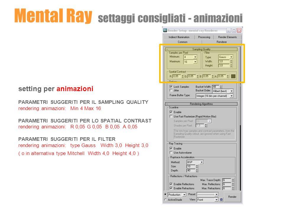 Mental Ray settaggi consigliati - animazioni