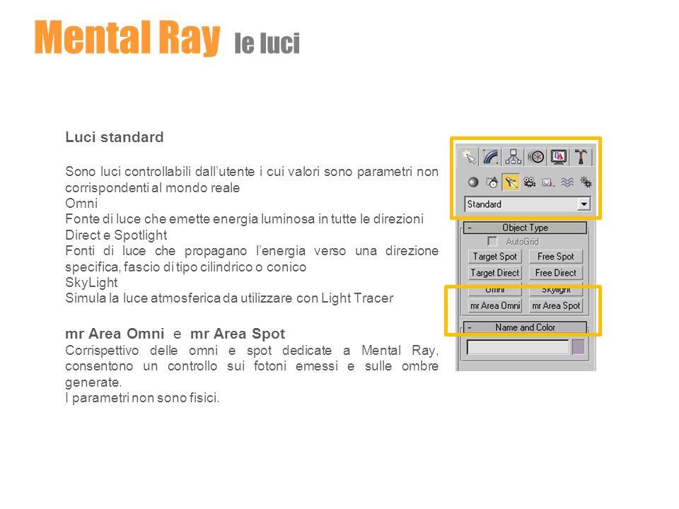 Mental Ray le luci Luci standard mr Area Omni e mr Area Spot
