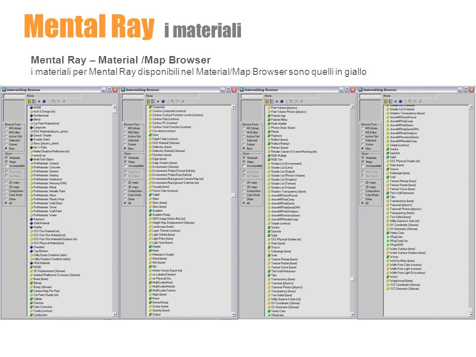 Mental Ray i materiali Mental Ray – Material /Map Browser