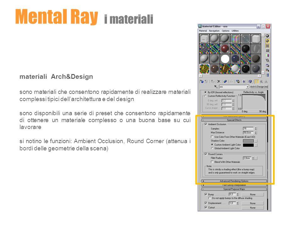 Mental Ray i materiali materiali Arch&Design