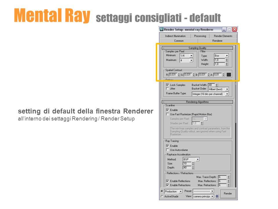 Mental Ray settaggi consigliati - default