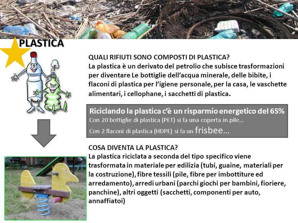 PLASTICA Riciclando la plastica c'è un risparmio energetico del 65%