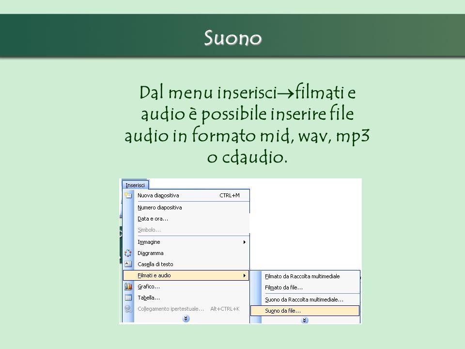 Suono Dal menu inseriscifilmati e audio è possibile inserire file audio in formato mid, wav, mp3 o cdaudio.