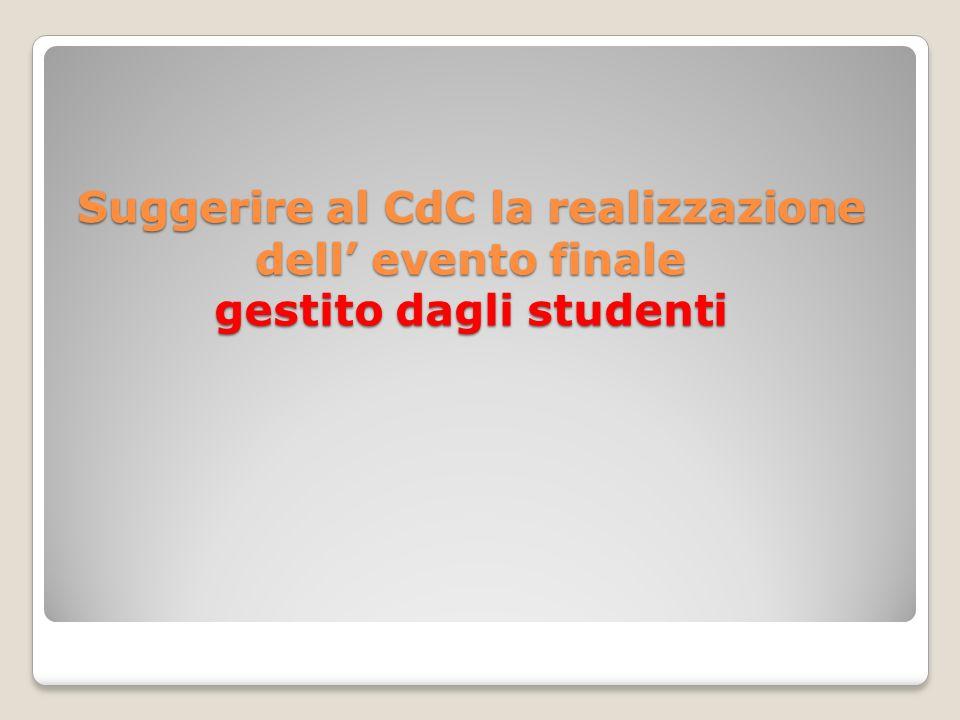 Suggerire al CdC la realizzazione dell' evento finale gestito dagli studenti
