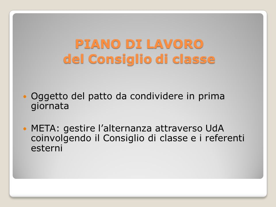 PIANO DI LAVORO del Consiglio di classe