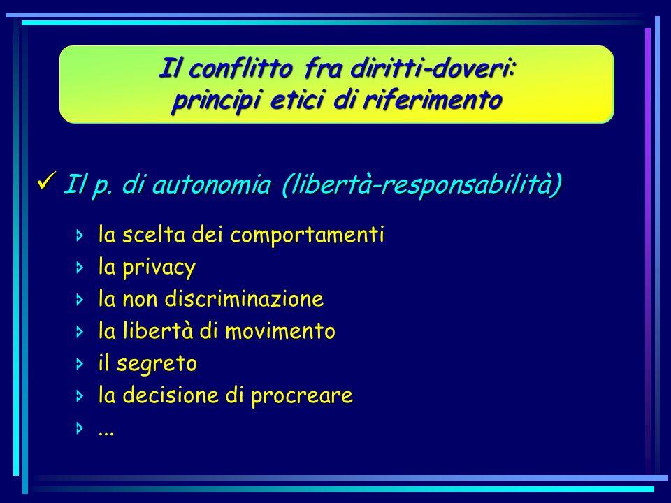 Il conflitto fra diritti-doveri: principi etici di riferimento