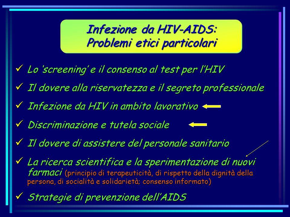 Infezione da HIV-AIDS: Problemi etici particolari