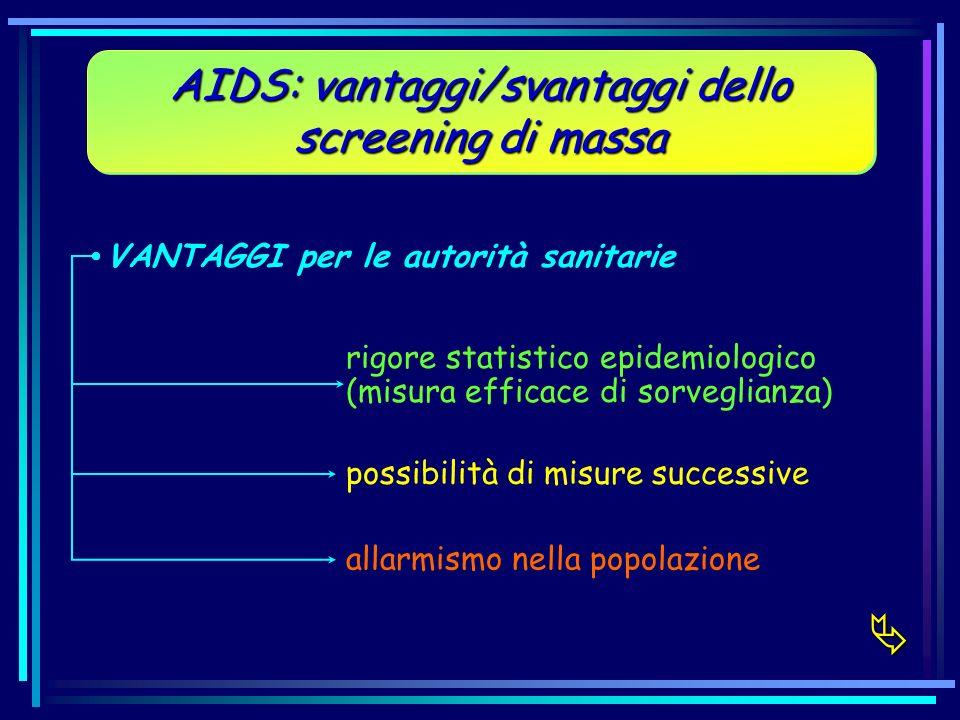 AIDS: vantaggi/svantaggi dello screening di massa