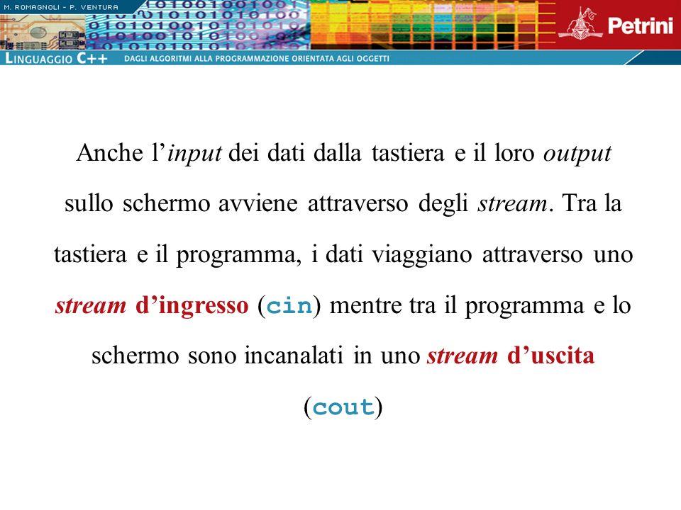 Anche l'input dei dati dalla tastiera e il loro output sullo schermo avviene attraverso degli stream.