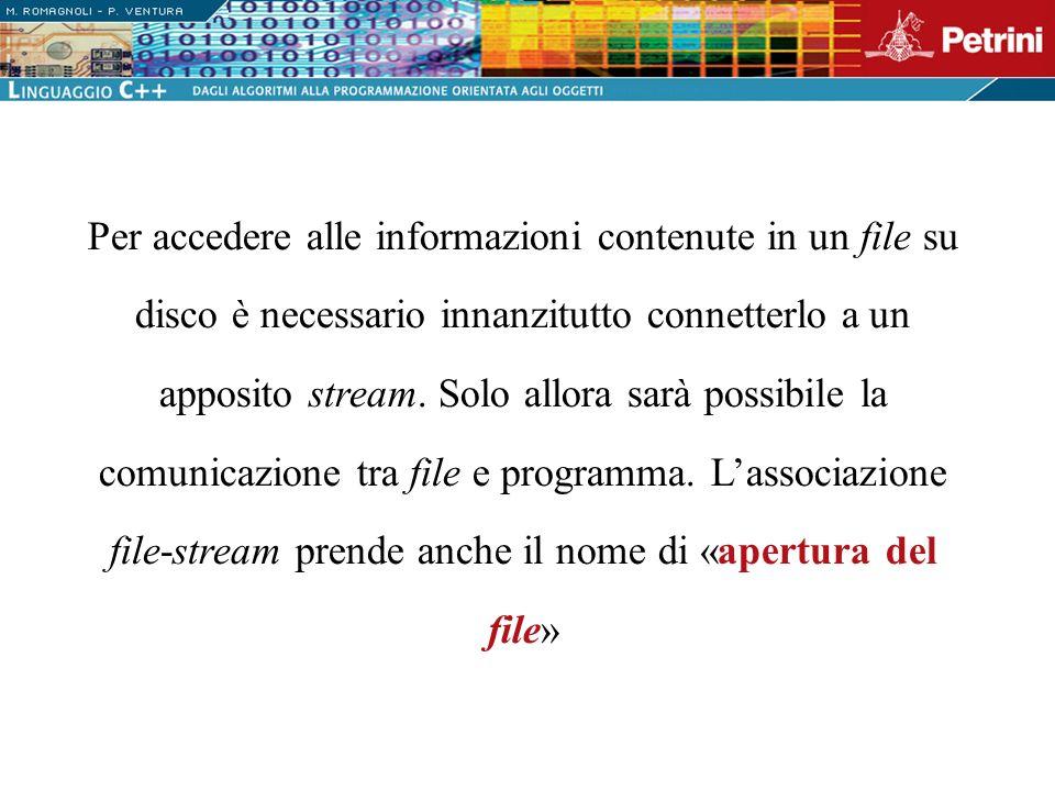 Per accedere alle informazioni contenute in un file su disco è necessario innanzitutto connetterlo a un apposito stream.
