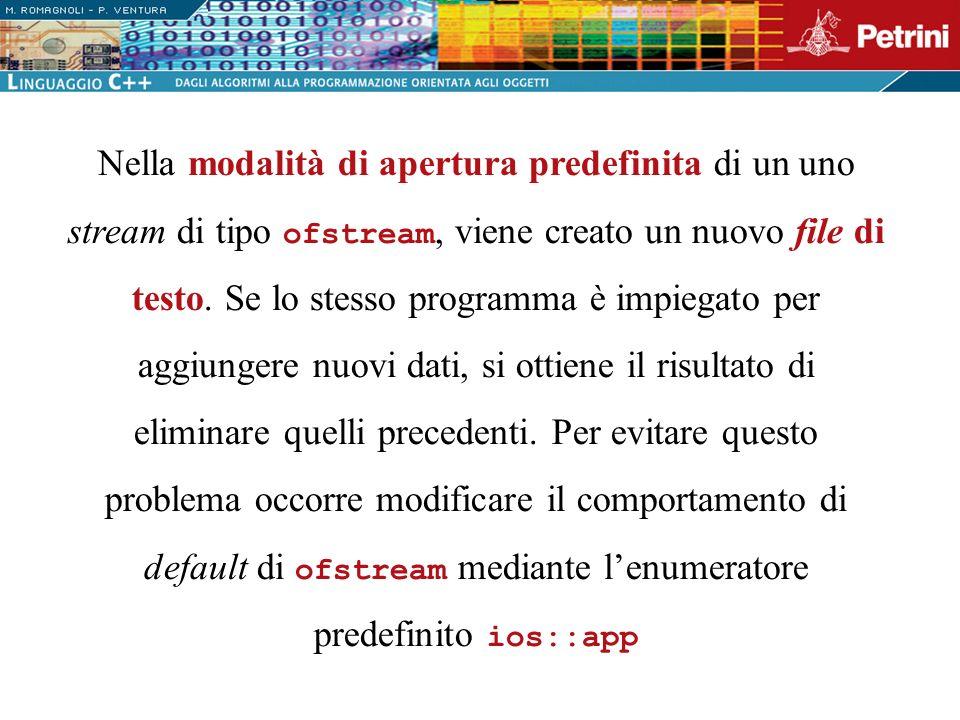 Nella modalità di apertura predefinita di un uno stream di tipo ofstream, viene creato un nuovo file di testo.