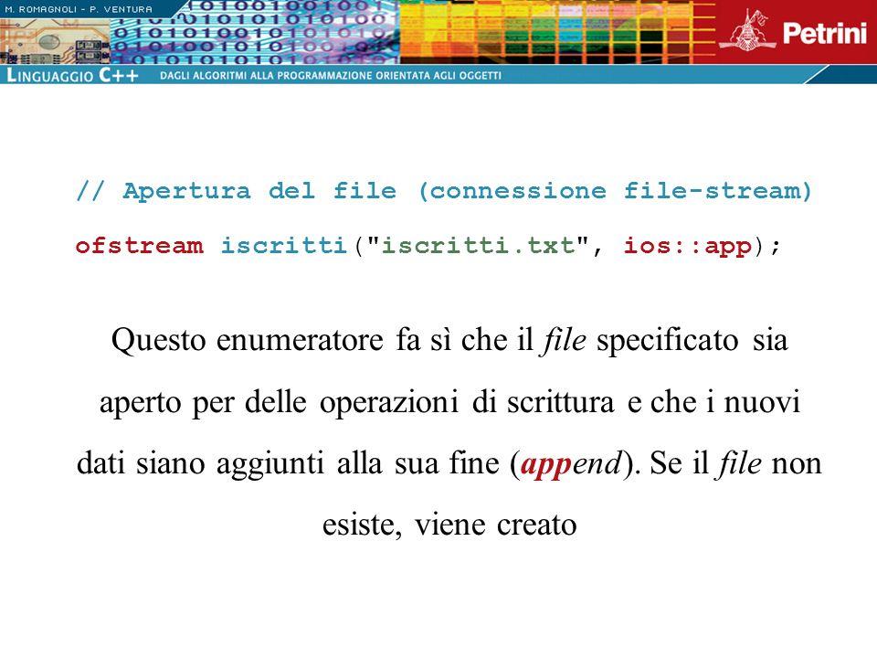 // Apertura del file (connessione file-stream)
