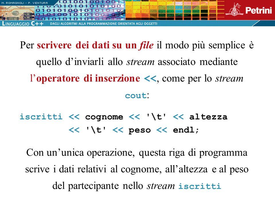 Per scrivere dei dati su un file il modo più semplice è quello d'inviarli allo stream associato mediante l'operatore di inserzione <<, come per lo stream cout: