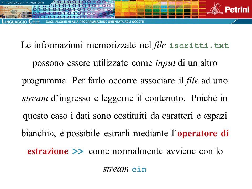 Le informazioni memorizzate nel file iscritti