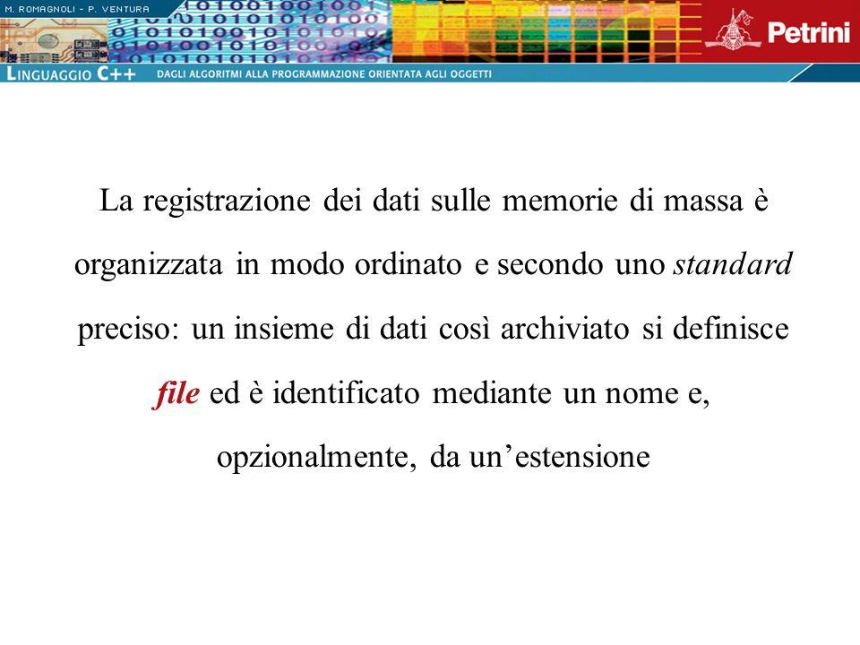 La registrazione dei dati sulle memorie di massa è organizzata in modo ordinato e secondo uno standard preciso: un insieme di dati così archiviato si definisce file ed è identificato mediante un nome e, opzionalmente, da un'estensione