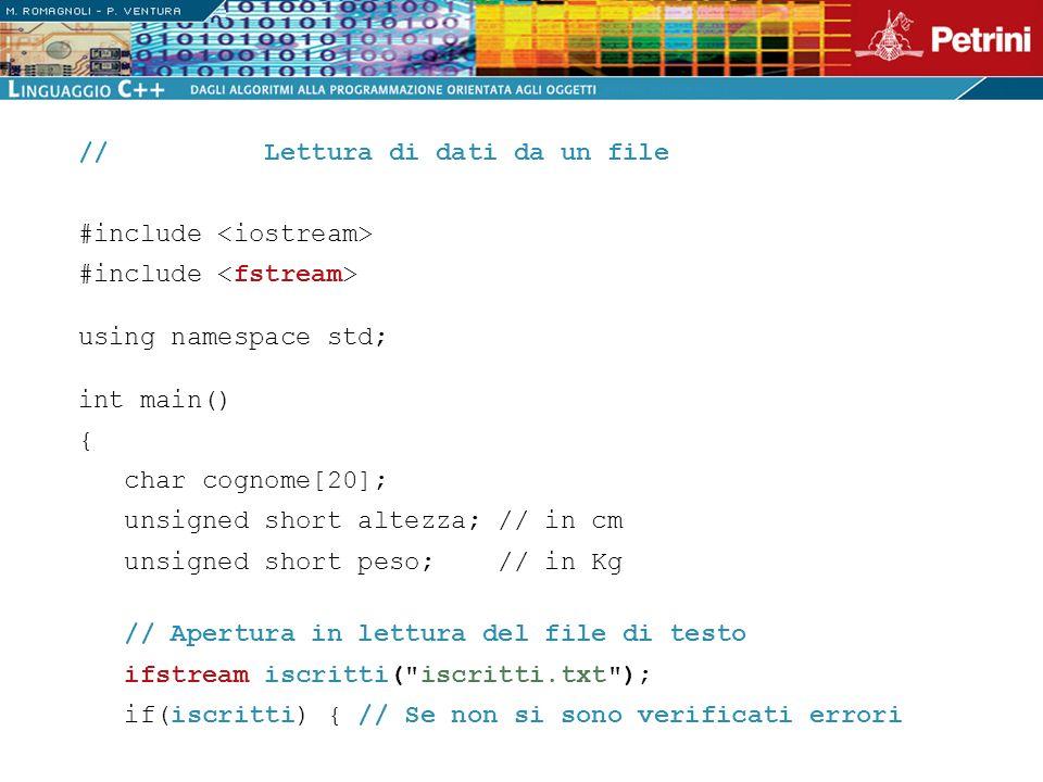 // Lettura di dati da un file