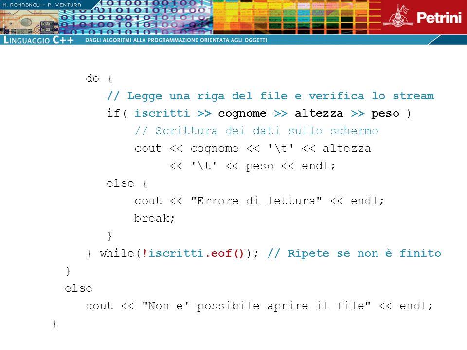 do { // Legge una riga del file e verifica lo stream. if( iscritti >> cognome >> altezza >> peso )