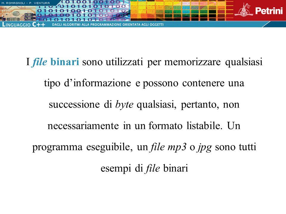 I file binari sono utilizzati per memorizzare qualsiasi tipo d'informazione e possono contenere una successione di byte qualsiasi, pertanto, non necessariamente in un formato listabile.