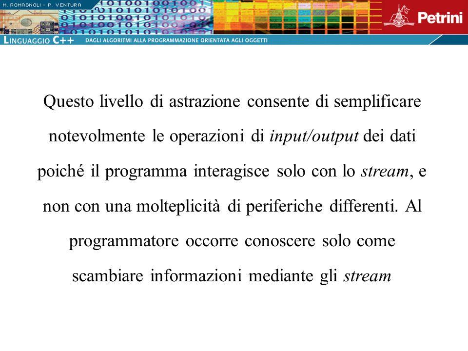 Questo livello di astrazione consente di semplificare notevolmente le operazioni di input/output dei dati poiché il programma interagisce solo con lo stream, e non con una molteplicità di periferiche differenti.