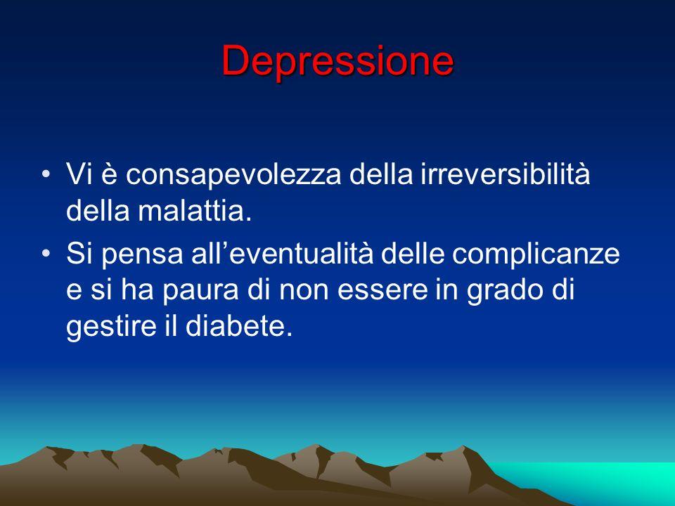 Depressione Vi è consapevolezza della irreversibilità della malattia.