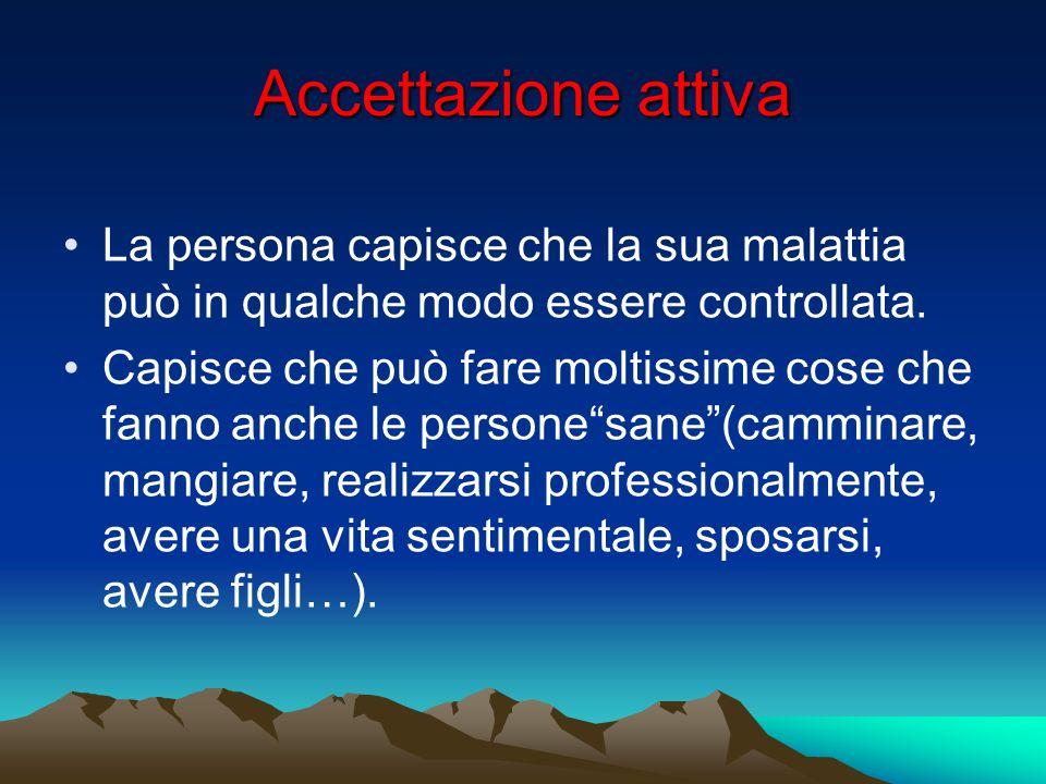 Accettazione attiva La persona capisce che la sua malattia può in qualche modo essere controllata.