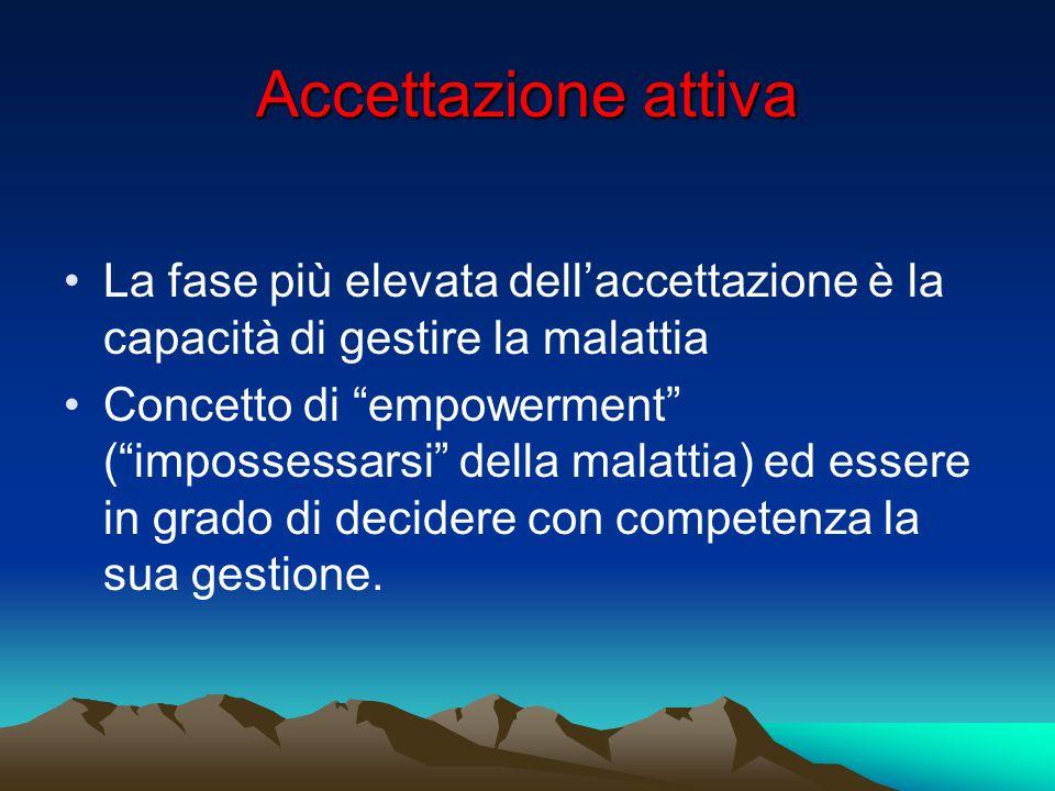 Accettazione attiva La fase più elevata dell'accettazione è la capacità di gestire la malattia.