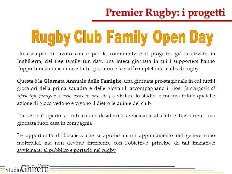 Premier Rugby: i progetti