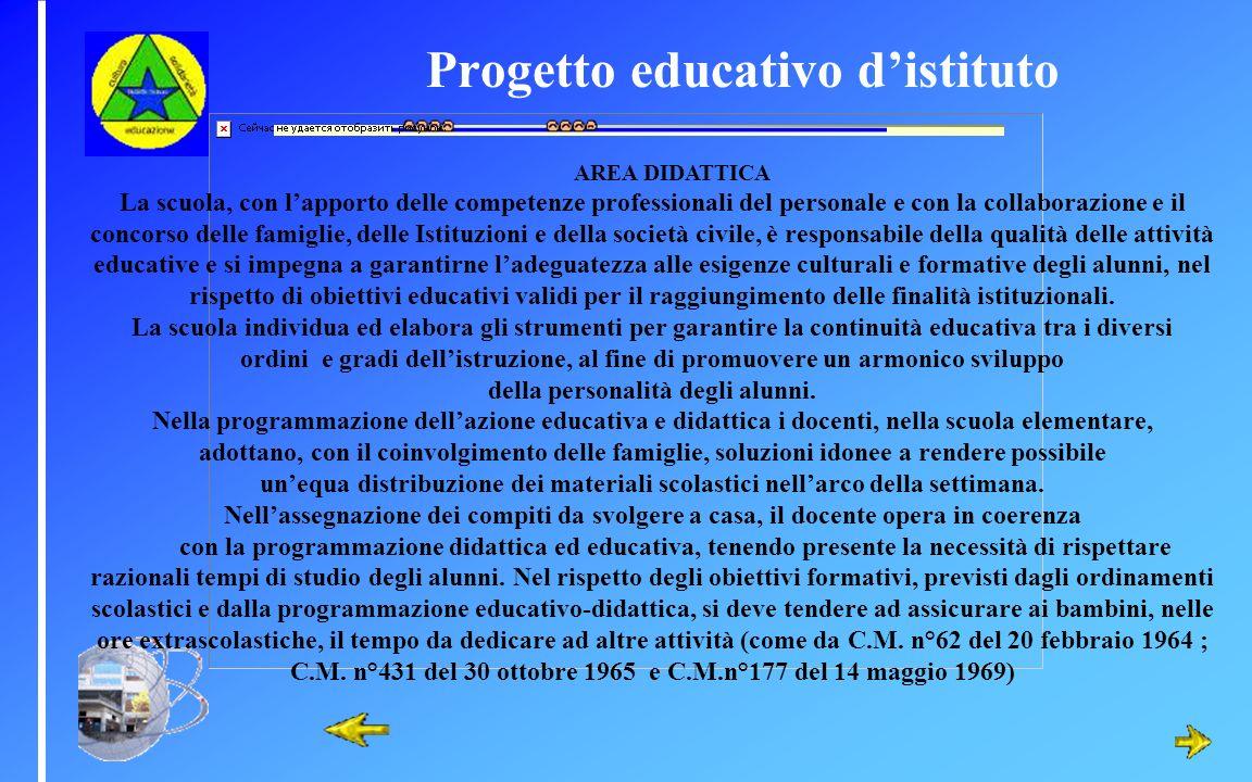 Progetto educativo d'istituto