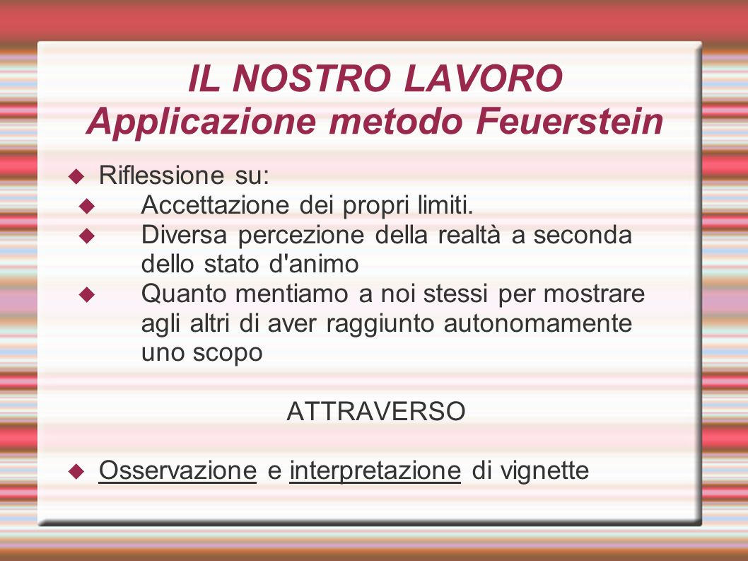 IL NOSTRO LAVORO Applicazione metodo Feuerstein