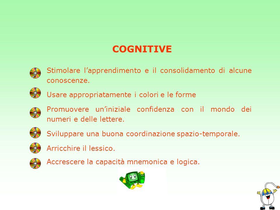 COGNITIVE Stimolare l'apprendimento e il consolidamento di alcune conoscenze. Usare appropriatamente i colori e le forme.