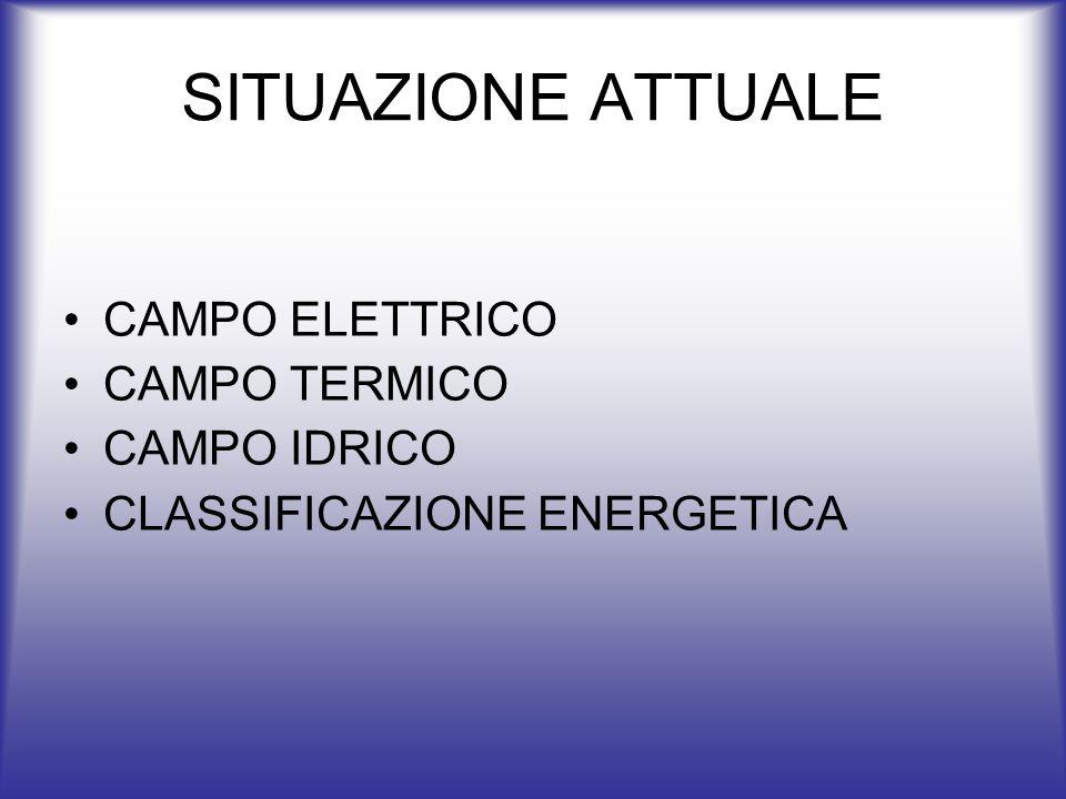 SITUAZIONE ATTUALE CAMPO ELETTRICO CAMPO TERMICO CAMPO IDRICO
