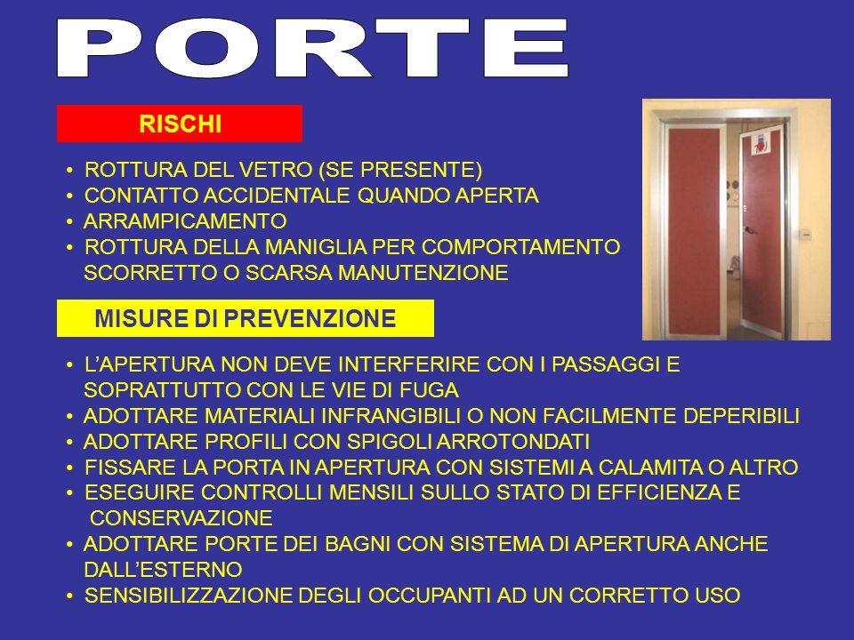 PORTE RISCHI MISURE DI PREVENZIONE ROTTURA DEL VETRO (SE PRESENTE)