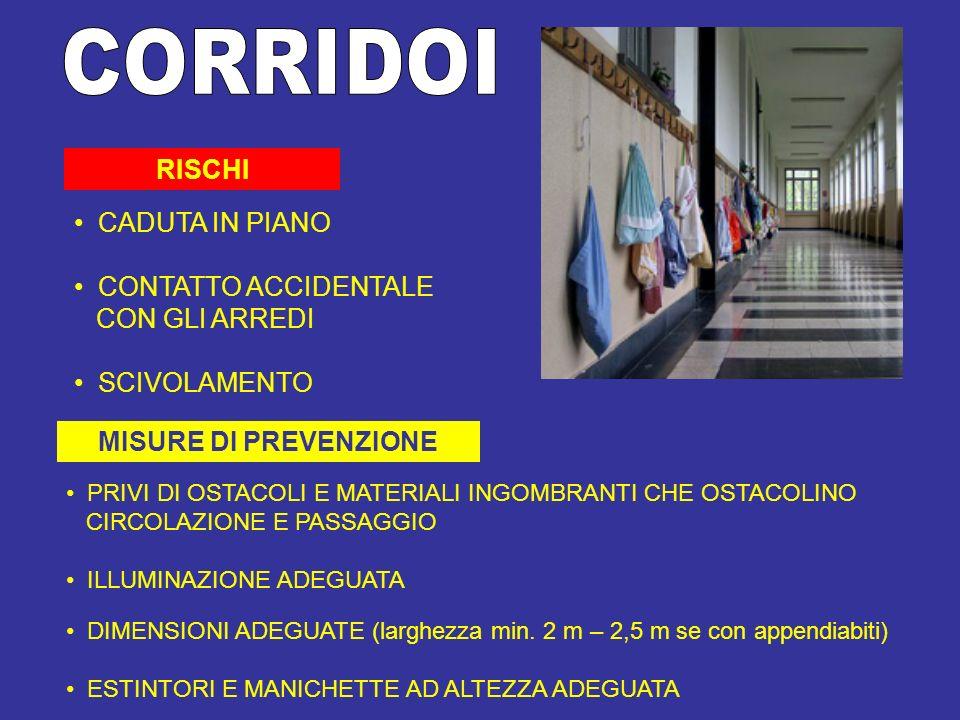 CORRIDOI RISCHI CADUTA IN PIANO CONTATTO ACCIDENTALE CON GLI ARREDI