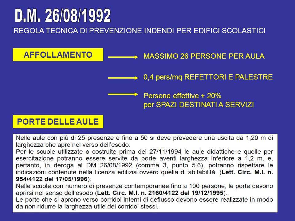 D.M. 26/08/1992 AFFOLLAMENTO PORTE DELLE AULE