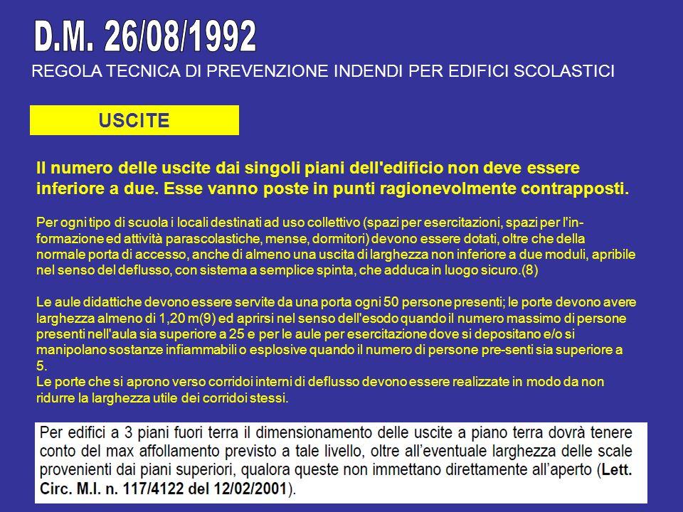 D.M. 26/08/1992 REGOLA TECNICA DI PREVENZIONE INDENDI PER EDIFICI SCOLASTICI. USCITE.